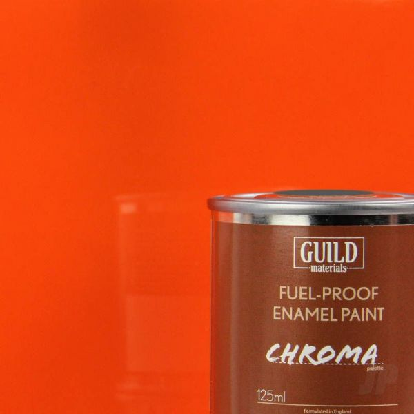 Guild Materials Chroma Orange Gloss Enamel Fuel-Proof Paint  (125ml Tin) GLDCHR6206